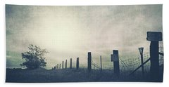 Field Beyond The Fence Bath Towel