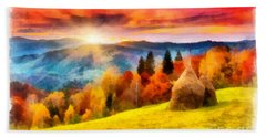 Field Of Autumn Haze Painting Hand Towel