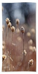 Field Of Dried Flowers In Earth Tones Bath Towel