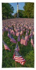 Field Of Flags At Boston's Soldiers And Sailors Monument Bath Towel