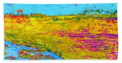 Field Of Flowers, Waterlily Pads Pond Modern Abstract Landscape Painting - Palette Knife Work Hand Towel