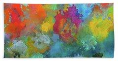 Field Of Flowers. Painting. Bath Towel