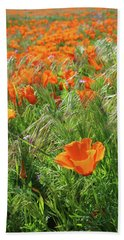 Hand Towel featuring the mixed media Field Of Orange Poppies- Art By Linda Woods by Linda Woods