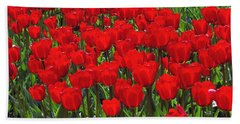Field Of Red Tulips Bath Towel by Sharon Talson