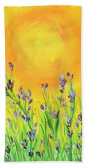 Field Sunset Bath Towel by Val Miller