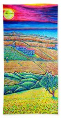 Hand Towel featuring the painting Fields by Viktor Lazarev