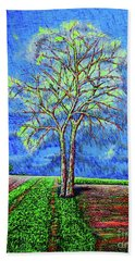 Hand Towel featuring the painting Field.tree by Viktor Lazarev