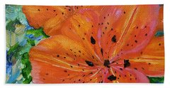 Bath Towel featuring the painting Fierce Tiger by Judith Rhue
