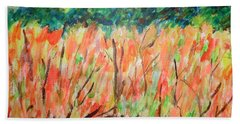 Bath Towel featuring the painting Fiery Bushes by Esther Newman-Cohen