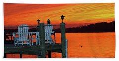 Fiery Dock Sunset Bath Towel