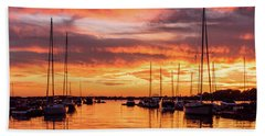 Fiery Lake Norman Sunset Hand Towel by Serge Skiba