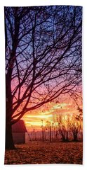 Bath Towel featuring the photograph Fiery Morning Sunrise by Lars Lentz
