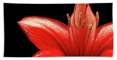 Bath Towel featuring the photograph Fiery Red by Judy Vincent