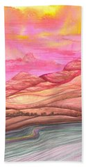Hand Towel featuring the painting Fiery Sky by Adria Trail