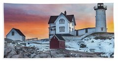 Fiery Sunrise At Cape Neddick Lighthouse Hand Towel