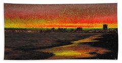 Hand Towel featuring the digital art Fiery Sunset by Mariola Bitner