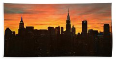 Fiery Sunset New York With Chrysler And Empire State Buildings Bath Towel by Miriam Danar