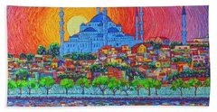 Fiery Sunset Over Blue Mosque Hagia Sophia In Istanbul Turkey Bath Towel