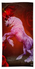 Fiery Unicorn Fantasy Hand Towel