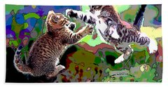 Hand Towel featuring the mixed media Fighting Cats by Charles Shoup
