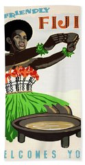 Fiji Restored Vintage Travel Poster Hand Towel
