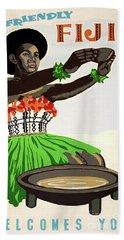 Fiji Restored Vintage Travel Poster Bath Towel