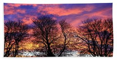 Hand Towel featuring the painting Filigree Sunset by Nareeta Martin