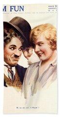 Film Fun Classic Comedy Magazine Featuring Charlie Chaplin And Girl 1916 Bath Towel
