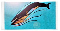 Finback Diving Through Krill Hand Towel