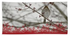 Hand Towel featuring the mixed media Finch Christmas by Trish Tritz
