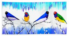 Finches Hand Towel by Cathy Jacobs
