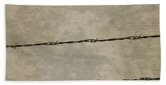 Fine Art Photograph Barbed Wire Over Vintage News Print Breaking Out  Bath Towel