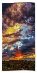 Finger Painted Sunset Hand Towel