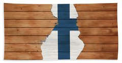 Finland Rustic Map On Wood Hand Towel