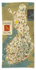Finland - Suomi - Vintage Illustrated Map Of Finland - Historical Map - Cartography Bath Towel