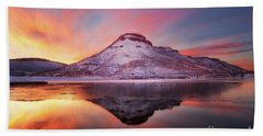Fire And Ice - Flatiron Reservoir, Loveland Colorado Bath Towel