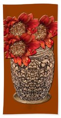 Fire Brick Flora Vase Hand Towel