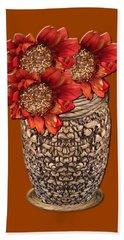 Fire Brick Flora Vase Bath Towel