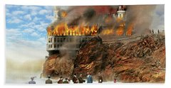 Bath Towel featuring the photograph Fire - Cliffside Fire 1907 by Mike Savad
