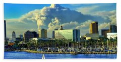 Hand Towel featuring the photograph Fire Cloud Over Long Beach by Mariola Bitner