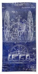 Fire Hose Cart Patent Blue Bath Towel