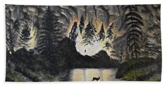 Fire In The Forest Bath Towel