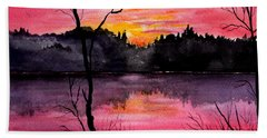 Fire In The Sky    Lake Arrowhead Maine Hand Towel