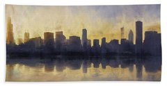 Fire In The Sky Chicago At Sunset Hand Towel