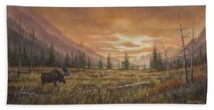 Hand Towel featuring the painting Fire In The Sky by Kim Lockman