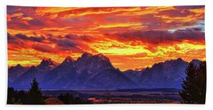 Fire In The Teton Sky Hand Towel