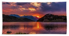 Fire On The Water Reflections Hand Towel