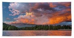 Fire Sunset Over Shasta Bath Towel by Greg Nyquist