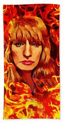 Fire Woman Abstract Fantasy Art Hand Towel