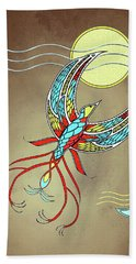 Bath Towel featuring the mixed media Firebird With Sun And Moon by Deborah Smith